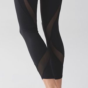 Lululemon Wunder Under Black Mesh Leggings